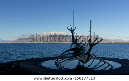 Solfar (Sun Voyager) on Reykjavik's waterfront. The sculpture is inspired by the viking's ships - stock photo