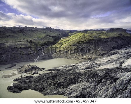 Solheimajokull outlet glacier in southern Iceland, Aerial image taken from 150m up - stock photo