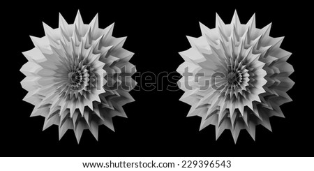 Solid 3D fractal stereo pair. Use these to make a 3D image in the format of your choice (red/cyan anaglyph, animated gif, interlaced etc.)  - stock photo