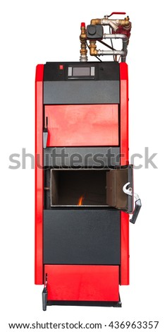Solid fuel heating boiler isolated. Clipping path included. - stock photo