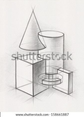 Solid Geometric Shapes:  Illustration of Geometric Shapes. It is a Pencil Drawing - stock photo