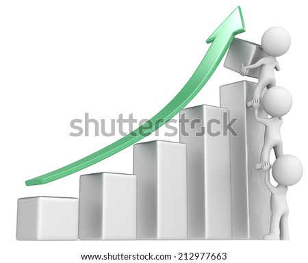 Solid Growth. The dude x 3 helping increase metal bar diagram. Green arrow. - stock photo