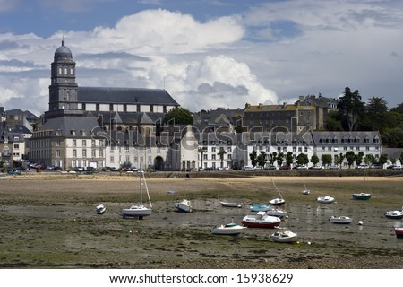 Solidor Bay in Saint Malo, France during low tide. - stock photo