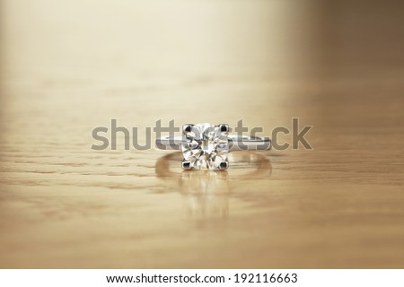 Solitaire Diamond Ring Four Claw Setting - stock photo