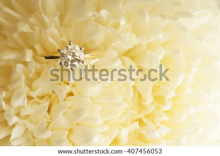 Solitaire ideal cut diamond ring in the midst of beige chrysanthemum.  - stock photo