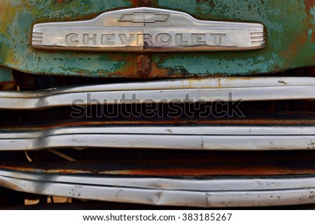 SOLITAIRE, NAMIBIA - JAN 30, 2016: Car grille of the abandoned old Chevrolet car at the service station at Solitaire in the Namib Desert, Namibia. Popular touristic destination - stock photo
