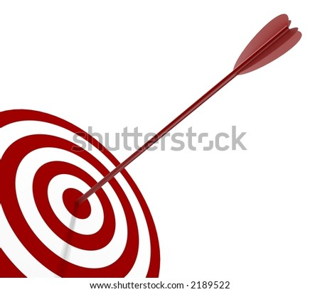 Solo Red and White target with arrow - isolated on white - stock photo