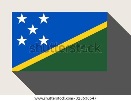 Solomon Islands flag in flat web design style. - stock photo