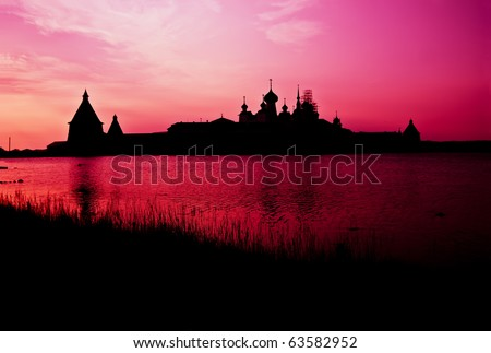 Solovetsky monastery in sunset lighting, Solovky Islands, Russia - stock photo