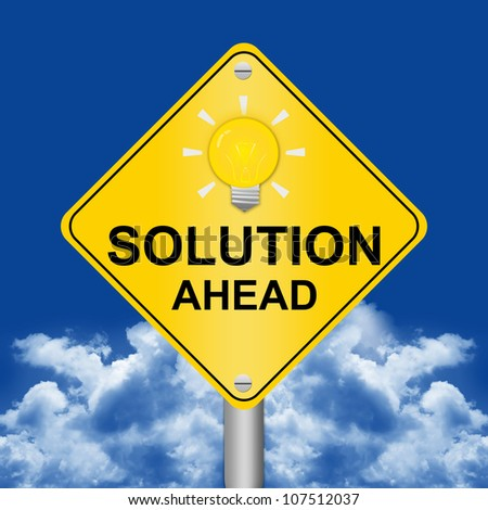 Solution Ahead Road Sign Against A Blue Sky Background - stock photo