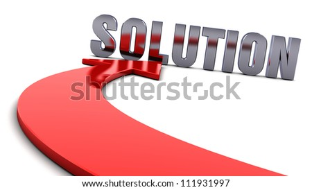 Solution and a red arrow on white background - stock photo