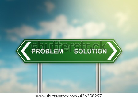 solution and problem on green road sign with blurred blue sky, dark and bright side concept - stock photo