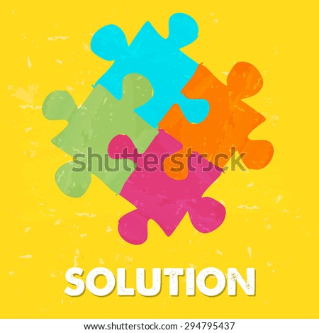 solution and puzzle pieces - text and sign in colorful grunge drawn style, business creative concept - stock photo