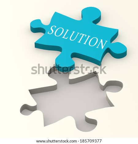 Solution blue puzzle - stock photo