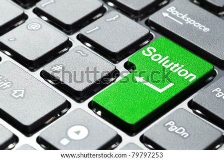 Solution button on laptop keyboard - stock photo