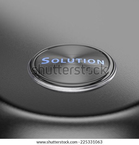 Solution button with blur effect. Render image for business and motivation concepts. - stock photo