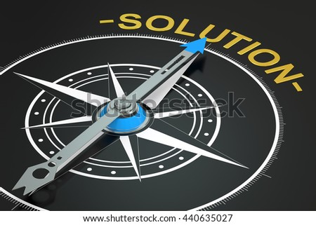 Solution compass concept, 3D rendering - stock photo