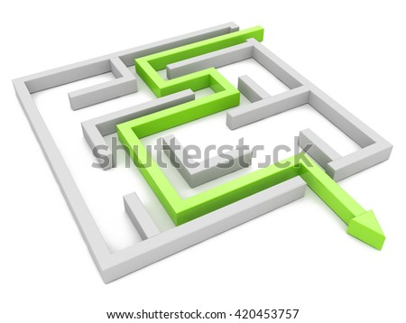 Solution concept: green arrow path showing labyrinths end, way out in the design of access to information relating to the business. 3d illustration - stock photo