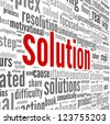 Solution concept in word tag cloud on white background - stock photo