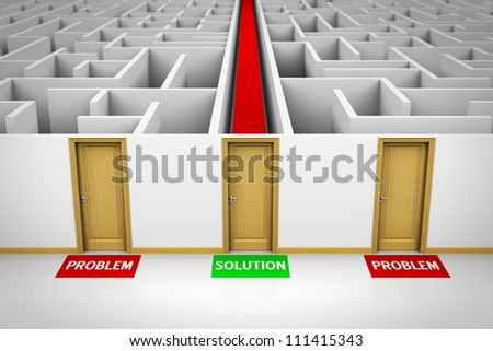 Solution concept showing three closed doors leading to problems and also to a solution. - stock photo
