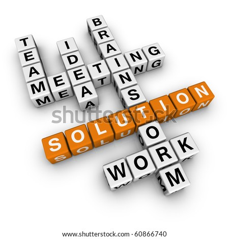 solution crossword (cubes crossword series) - stock photo