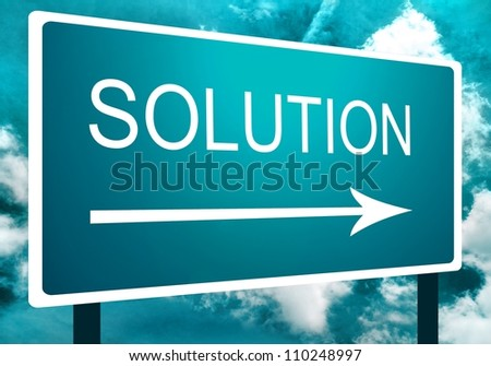 Solution direction road street sign with an arrow at an angle, the sky and clouds - stock photo