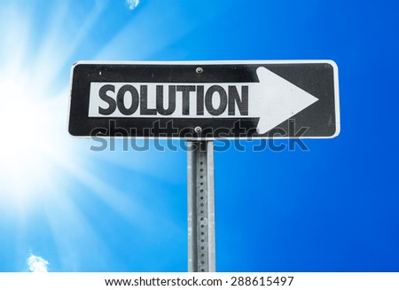 Solution direction sign with a beautiful day - stock photo