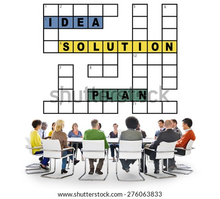 Solution Ideas Plan Solving Result Crossword Concept - stock photo