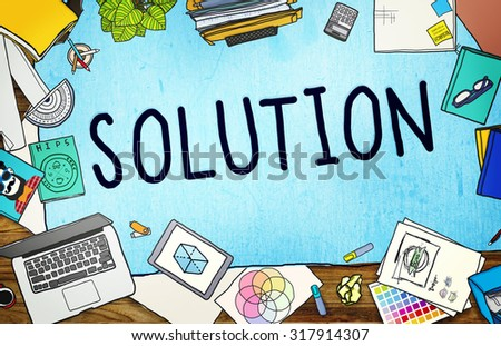 Solution Innovation Progress Strategy Decision Concept - stock photo