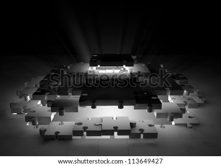 Solution jigsaw puzzle - stock photo