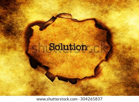 Solution text on paper hole - stock photo