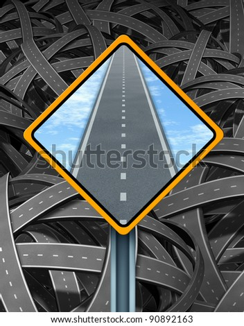 Solution traffic sign with a yellow road signage as a clear straight road forward in contrast to the tangled mess of interlinked highways in confused directions as a symbol of successful guidance. - stock photo