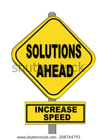 solutions ahead increase speed sign - stock photo