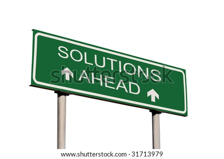 Solutions Ahead Road Sign Isolated - stock photo