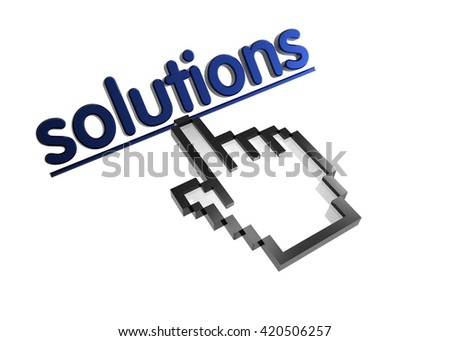 solutions. 3d rendered inscription. Link and finger, pointer. Isolated on white - stock photo
