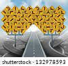 Solutions for business leadership as a clear strategy with a straight path to success choosing the right strategic path with yellow traffic signs cutting through a maze of tangled roads and highways. - stock photo