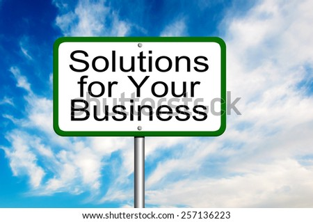 Solutions for Your Business Signpost - stock photo