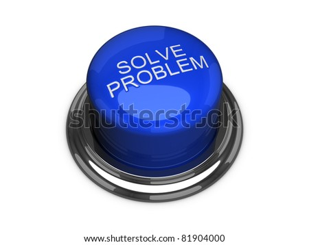 Solve the problem button. Isolated on the white background. - stock photo