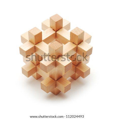 solved wooden puzzle - stock photo