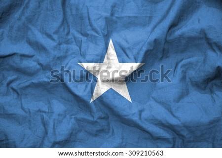 Somalia flag, fabric. illustration - stock photo