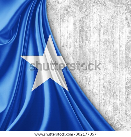 Somalia flag of silk with copyspace for your text or images and wall background - stock photo