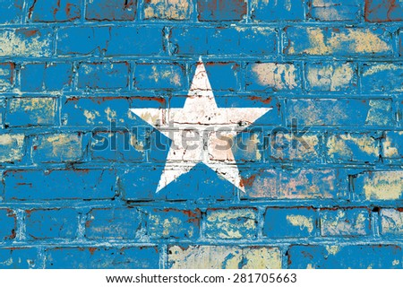 Somalia flag painted on old brick wall texture background - stock photo