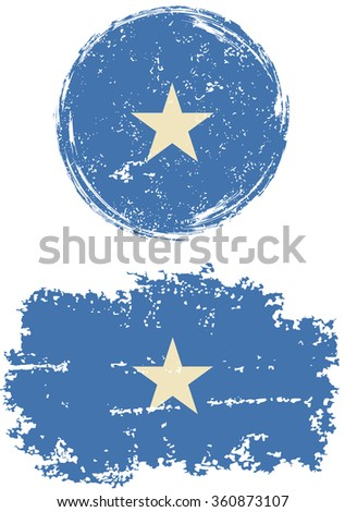 Somalia round and square grunge flags. Raster version. - stock photo