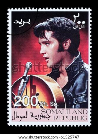 SOMALILAND - CIRCA 2008: A postage stamp printed in Somaliland showing Elvis Presley, circa 2008 - stock photo