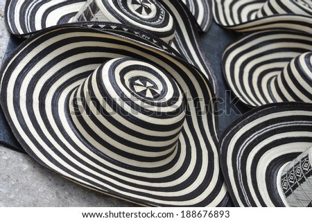 Sombreros Volteados - Typical Colombian Hats on the marketplace, Cartagena, Colombia - stock photo