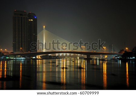 Somdet Phra Pin Klao Bridge in Bangkok, Thailand - stock photo