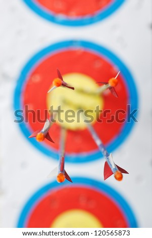 some arrows in the center of the target with shallow depth of field focus on the plumage - stock photo