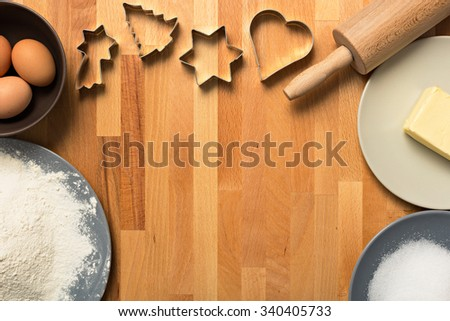 Some baking utensil and ingridients - stock photo
