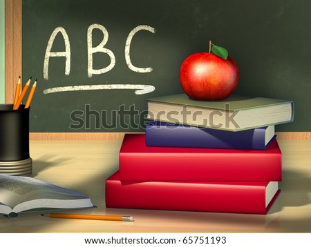 Some books and a pencil holder on a wooden table. A juicy red apple is standing on the books. Digital illustration. - stock photo