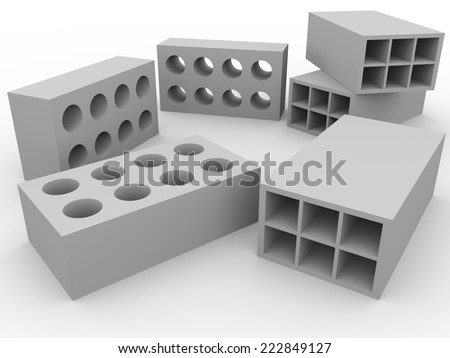 Some bricks in white. Construction material. concept of masnory - stock photo